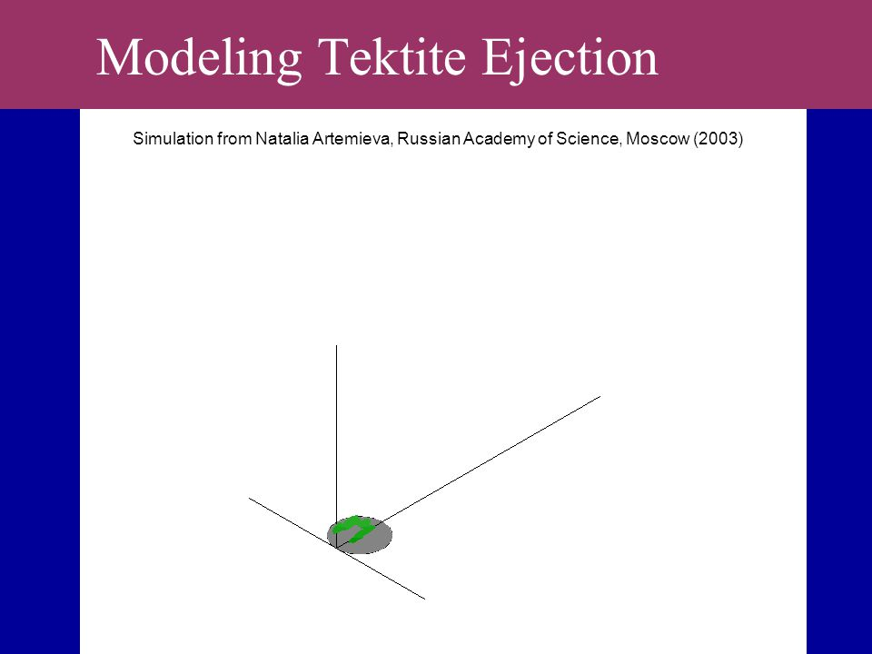 Modeling Tektite Ejection Simulation from Natalia Artemieva, Russian Academy of Science, Moscow (2003)