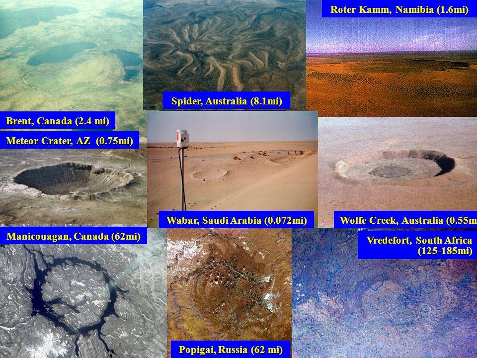 Manicouagan, Canada (62mi) Roter Kamm, Namibia (1.6mi) Brent, Canada (2.4 mi) Wabar, Saudi Arabia (0.072mi) Vredefort, South Africa (125-185mi) Meteor Crater, AZ (0.75mi) Wolfe Creek, Australia (0.55mi) Spider, Australia (8.1mi) Popigai, Russia (62 mi)
