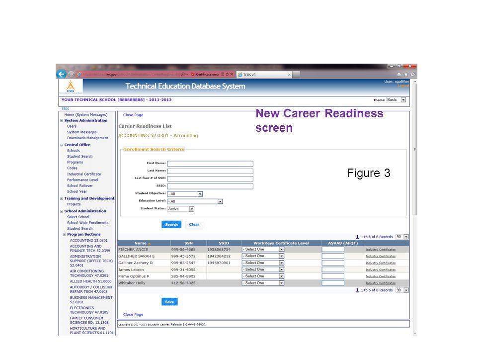 New Career Readiness screen Figure 3
