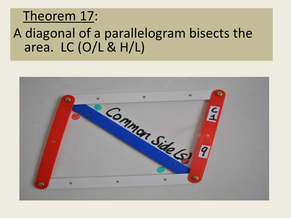 Theorem 9: Corollary 1 A diagonal divides a parallelogram into two congruent triangles. (JC H/L & LC H/L) Theorem 17: A diagonal of a parallelogram bi