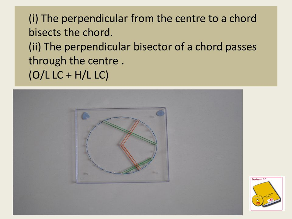 (i) The perpendicular from the centre to a chord bisects the chord. (ii) The perpendicular bisector of a chord passes through the centre. (O/L LC + H/