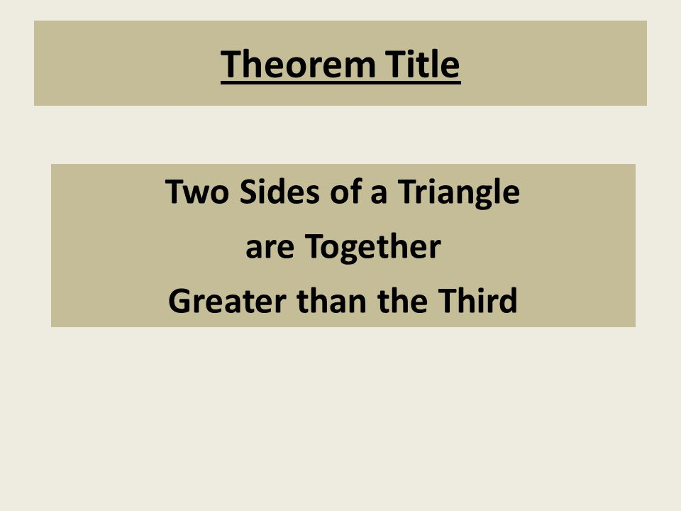 Theorem Title Two Sides of a Triangle are Together Greater than the Third