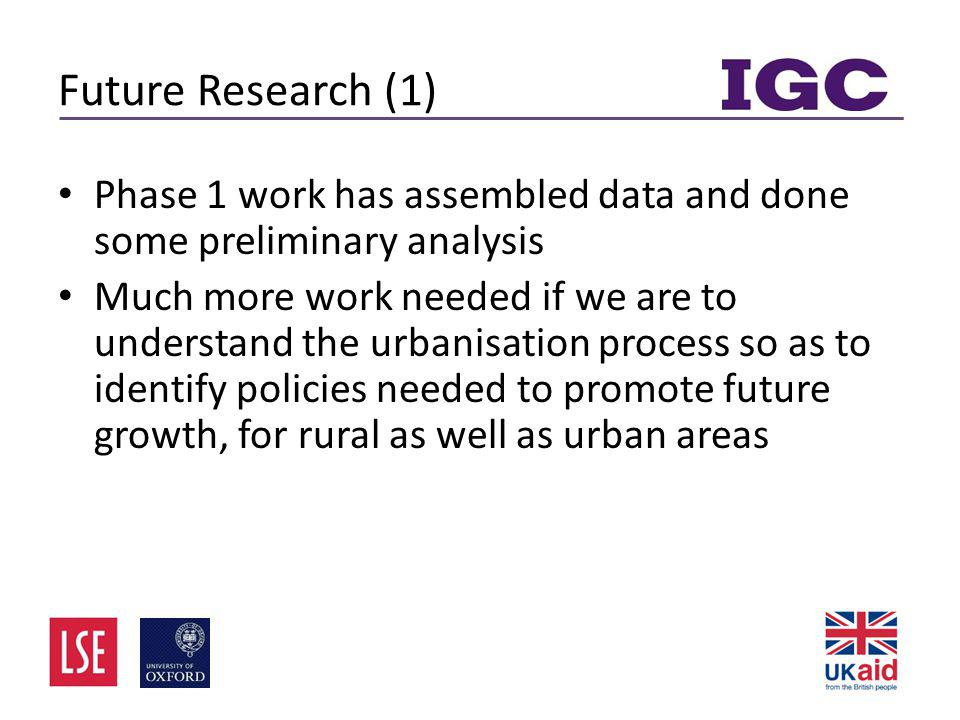 Future Research (1) • Phase 1 work has assembled data and done some preliminary analysis • Much more work needed if we are to understand the urbanisation process so as to identify policies needed to promote future growth, for rural as well as urban areas
