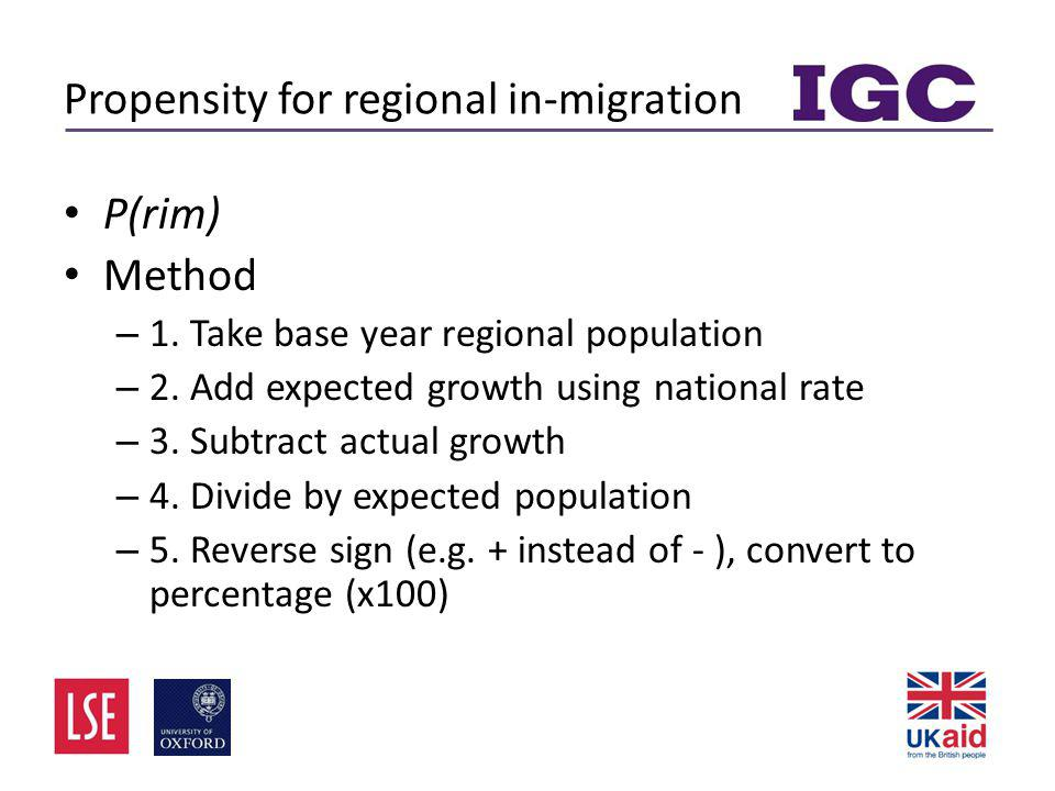 Propensity for regional in-migration • P(rim) • Method – 1.