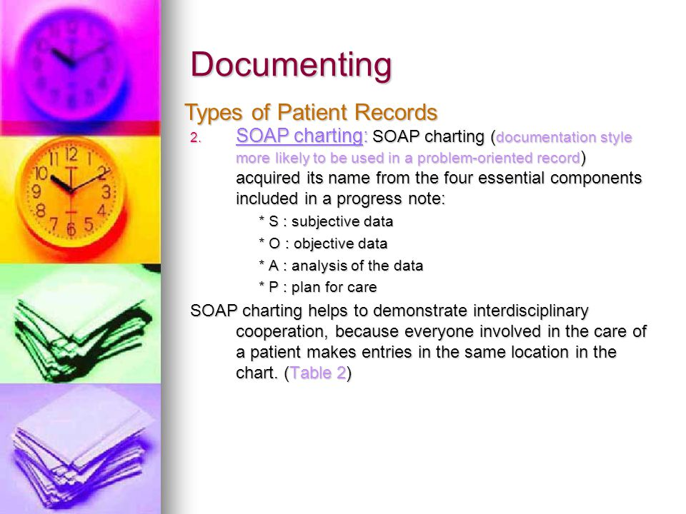 Documenting LetterExplanation Nurses Remarks Subjective Information reported by the patient S - Don't feel well Objective Information reported by the nurse O - Temperature 38C Analysis Problem identification A – Fever Plan Proposed treatment P – Increased fluid intake & Monitor body temperature Table 2 SOAP Charting format