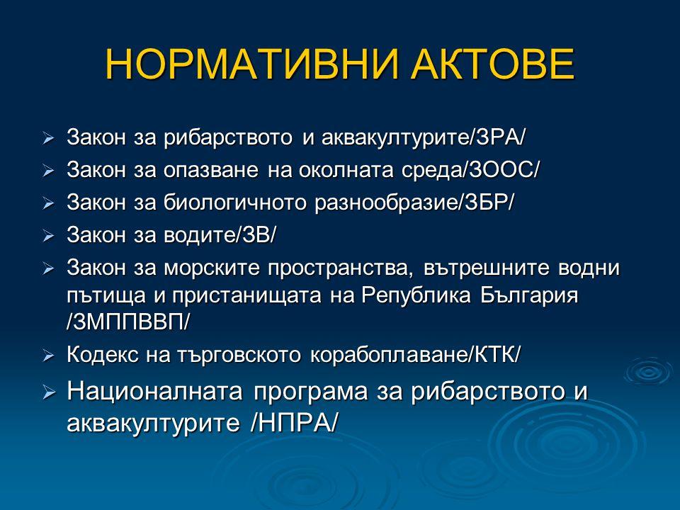 НОРМАТИВНИ АКТОВЕ  Закон за рибарството и аквакултурите/ЗРА/  Закон за опазване на околната среда/ЗООС/  Закон за биологичното разнообразие/ЗБР/  Закон за водите/ЗВ/  Закон за морските пространства, вътрешните водни пътища и пристанищата на Република България /ЗМППВВП/  Кодекс на търговското корабоплаване/КТК/  Националната програма за рибарството и аквакултурите /НПРА/