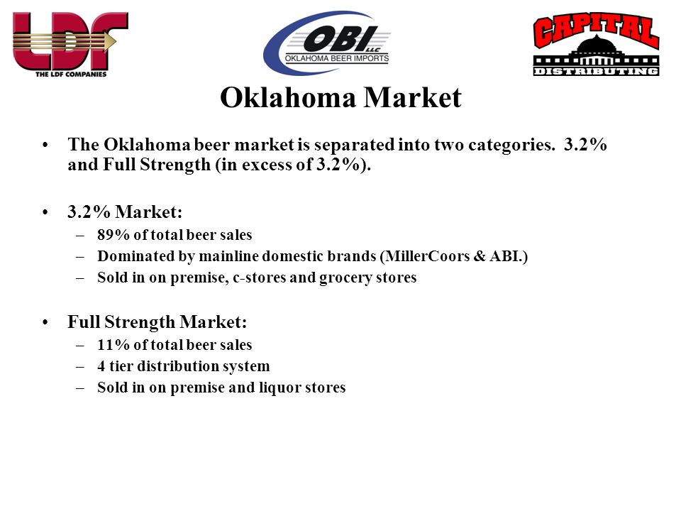 •Full strength beer is imported into the state by the designated broker or Non-Resident Seller (NRS), such as OBI.