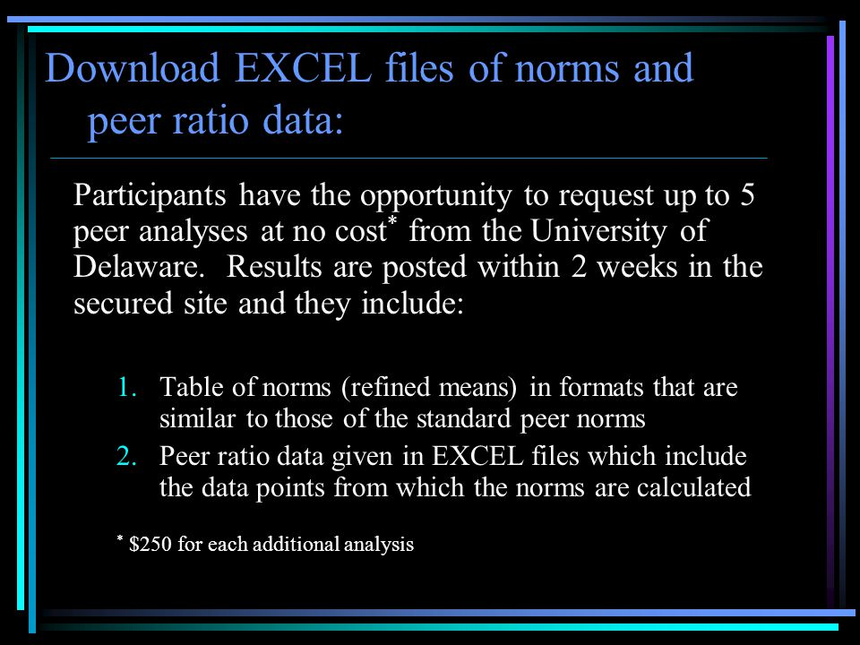 Download EXCEL files of norms and peer ratio data: Participants have the opportunity to request up to 5 peer analyses at no cost * from the University of Delaware.