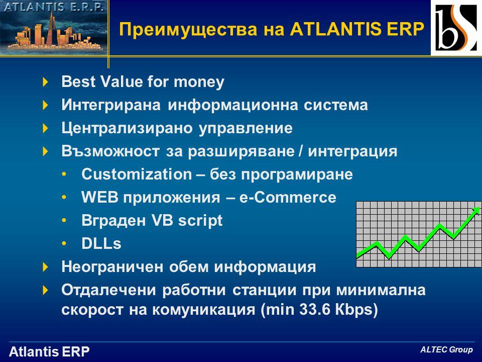 Atlantis ERP ALTEC Group Преимущества на ATLANTIS ERP  Best Value for money  Интегрирана информационна система  Централизирано управление  Възможност за разширяване / интеграция •Customization – без програмиране •WEB приложения – e-Commerce •Вграден VB script •DLLs  Неограничен обем информация  Отдалечени работни станции при минимална скорост на комуникация (min 33.6 Кbps)