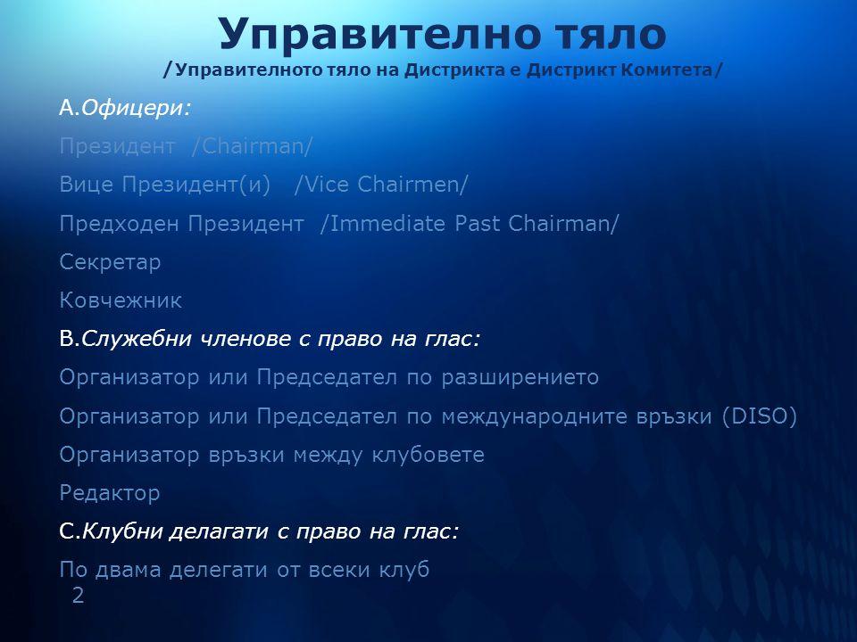 3 Управително тяло Дистрикт Комитет: Офицери Служебни членове с право на глас Клубни делегати с право на глас Изпълнителен Комитет на Дистрикта: (Борд на Дистрикта) Офицери Служебни членове с право на глас