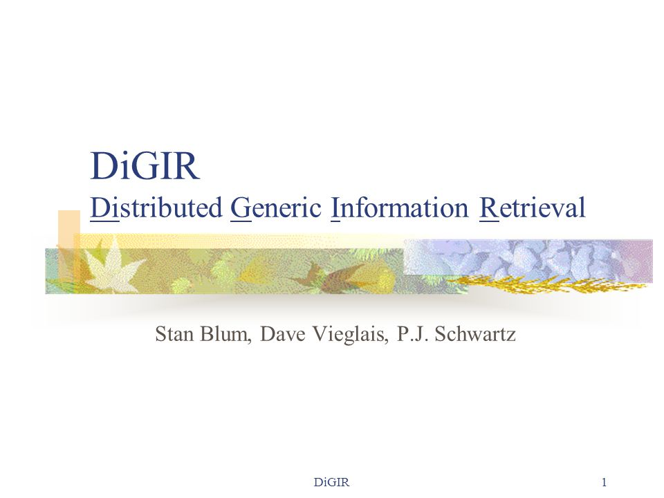 DiGIR 2 Project Goals  To define a protocol for retrieving structured data from multiple, heterogeneous databases  To build a reference implementation of said protocol