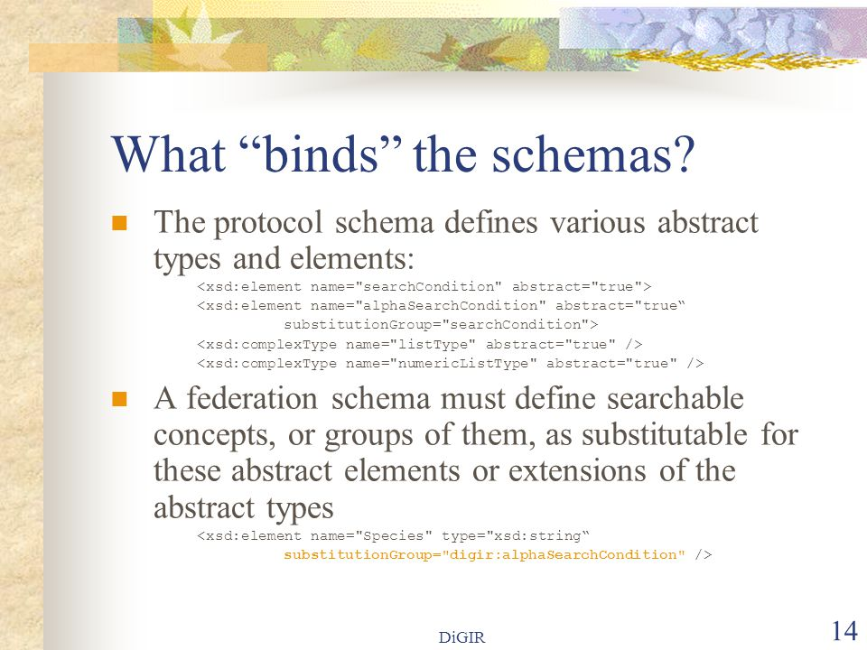 DiGIR 14 What binds the schemas.