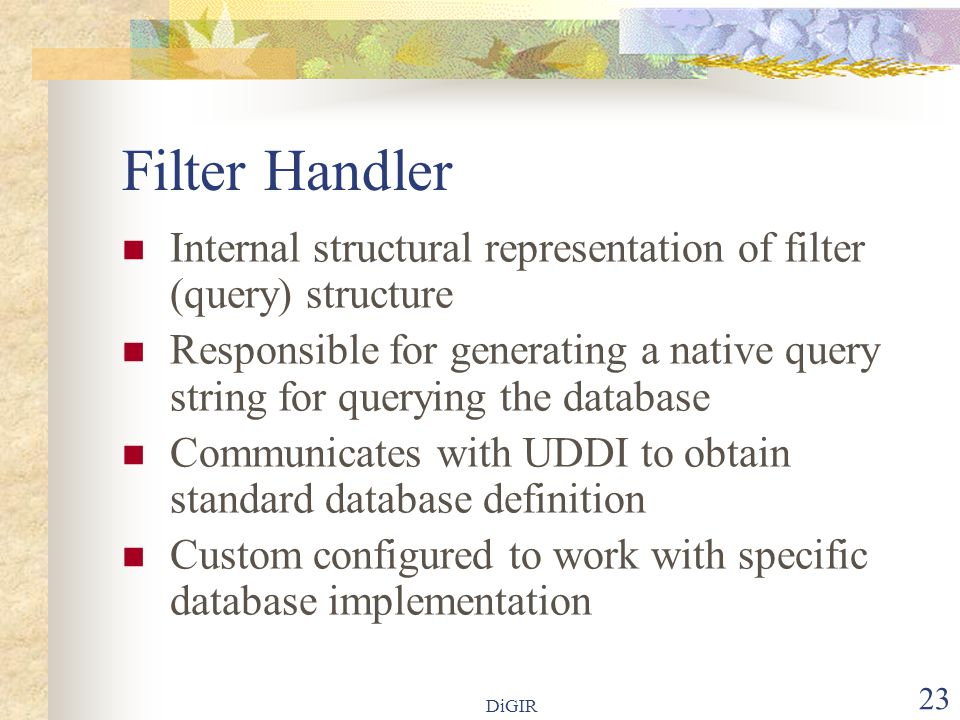 DiGIR 23 Filter Handler  Internal structural representation of filter (query) structure  Responsible for generating a native query string for querying the database  Communicates with UDDI to obtain standard database definition  Custom configured to work with specific database implementation