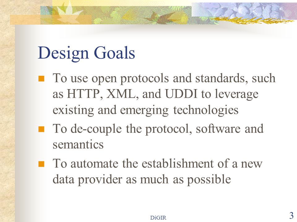 DiGIR 4 High-level Architecture  Protocol  Provider  Portal  Registry