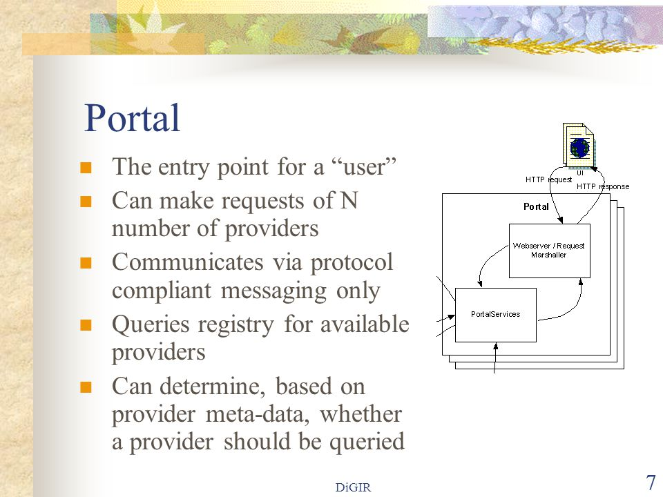 DiGIR 7 Portal  The entry point for a user  Can make requests of N number of providers  Communicates via protocol compliant messaging only  Queries registry for available providers  Can determine, based on provider meta-data, whether a provider should be queried