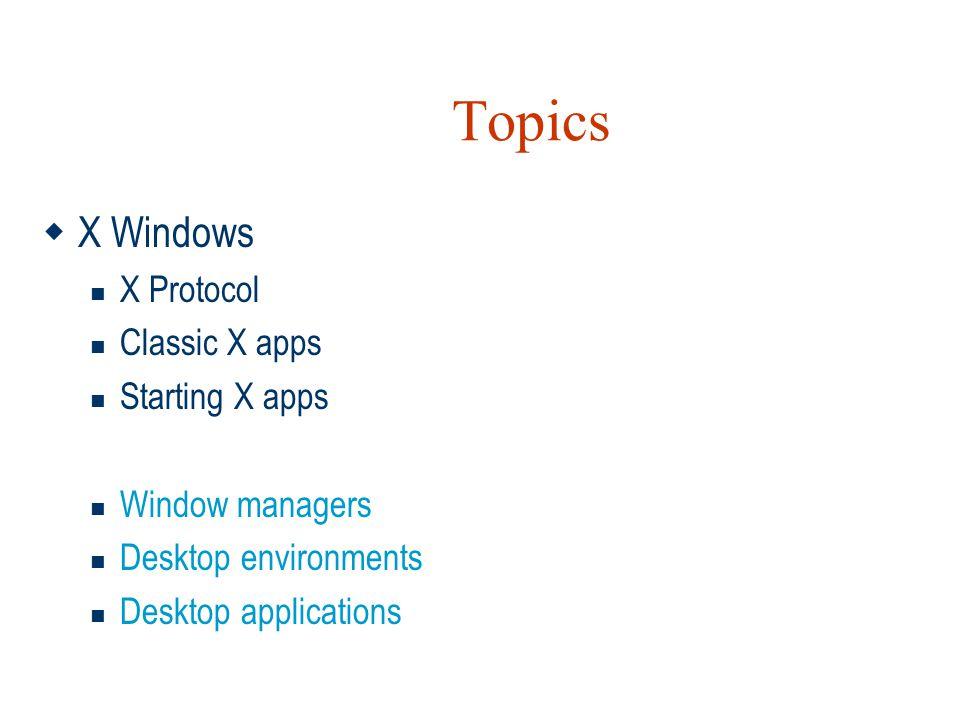 Topics  X Windows  X Protocol  Classic X apps  Starting X apps  Window managers  Desktop environments  Desktop applications