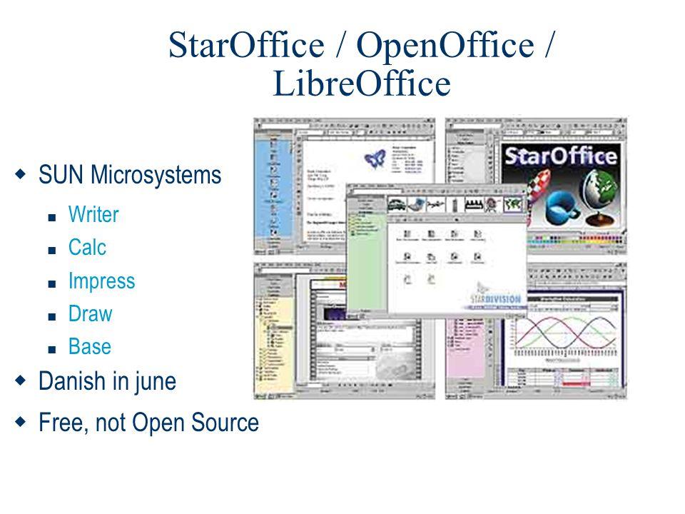StarOffice / OpenOffice / LibreOffice  SUN Microsystems  Writer  Calc  Impress  Draw  Base  Danish in june  Free, not Open Source