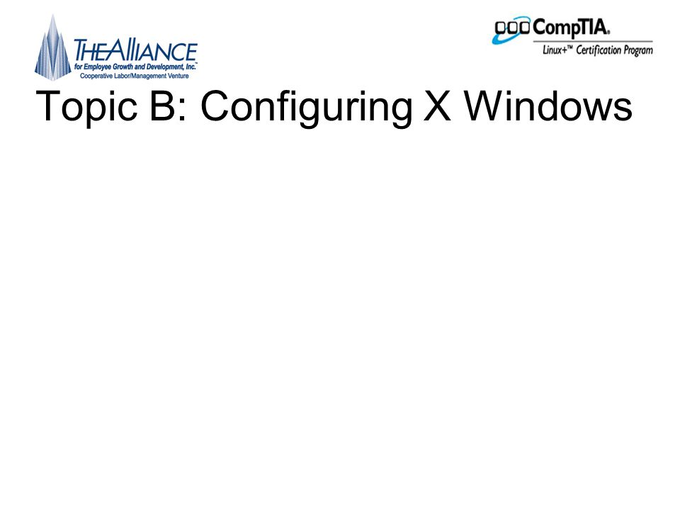 Topic B: Configuring X Windows