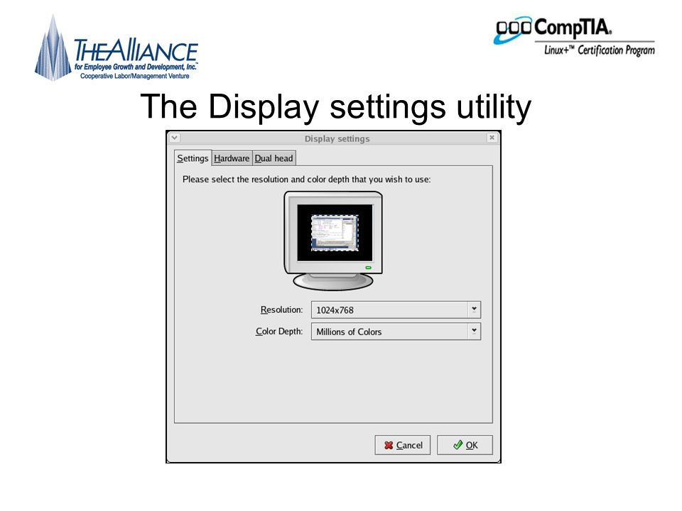 The Display settings utility