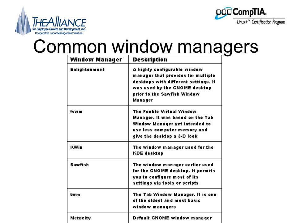 Common window managers