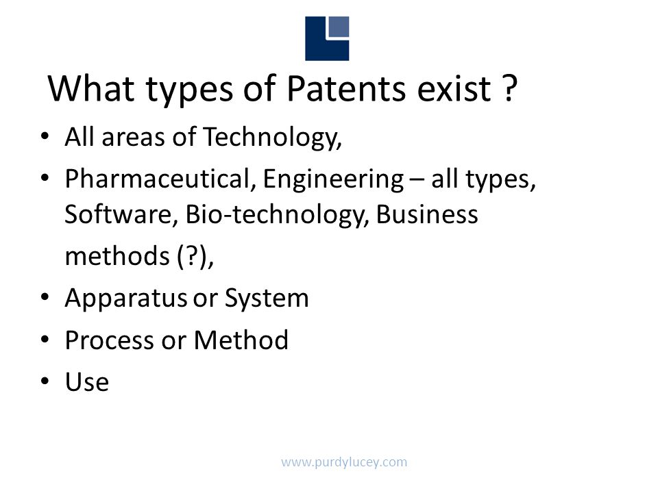 www.purdylucey.com What types of Patents exist .