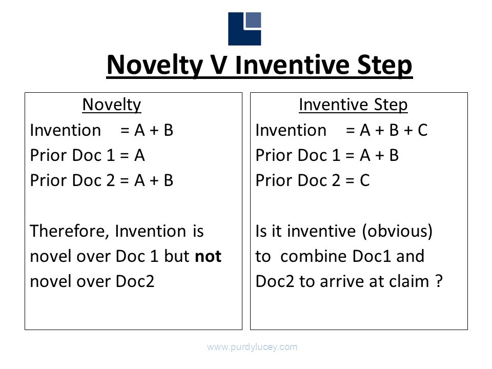 Novelty V Inventive Step Novelty Invention = A + B Prior Doc 1 = A Prior Doc 2 = A + B Therefore, Invention is novel over Doc 1 but not novel over Doc2 Inventive Step Invention = A + B + C Prior Doc 1 = A + B Prior Doc 2 = C Is it inventive (obvious) to combine Doc1 and Doc2 to arrive at claim .