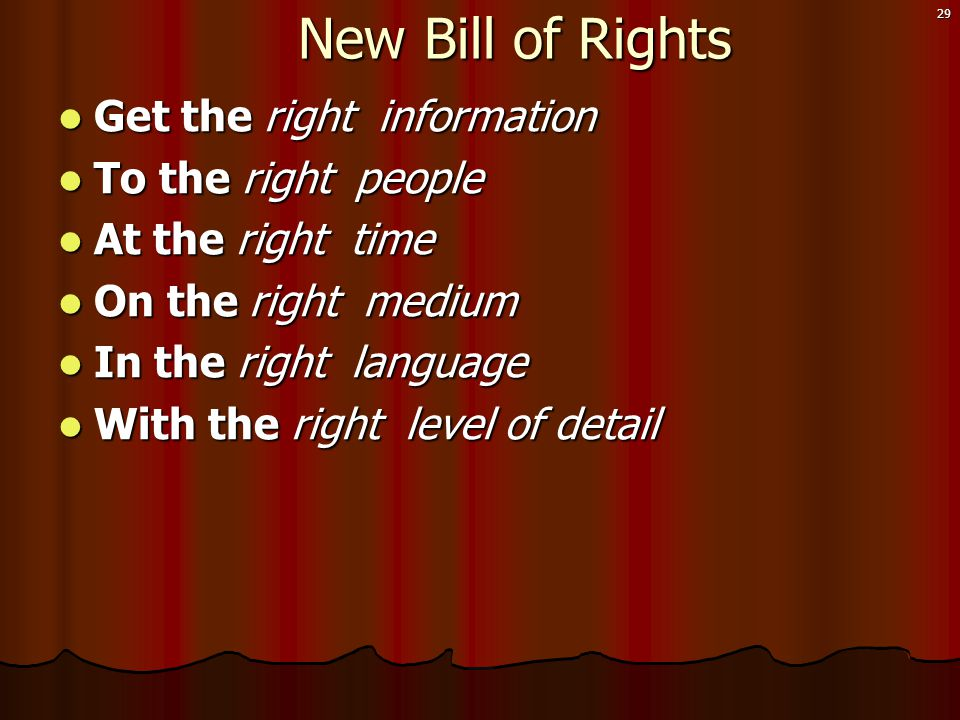 29 New Bill of Rights New Bill of Rights  Get the right information  To the right people  At the right time  On the right medium  In the right language  With the right level of detail