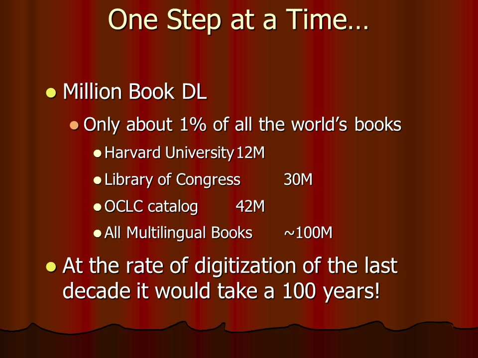 One Step at a Time…  Million Book DL  Only about 1% of all the world's books  Harvard University12M  Library of Congress30M  OCLC catalog 42M  All Multilingual Books~100M  At the rate of digitization of the last decade it would take a 100 years!