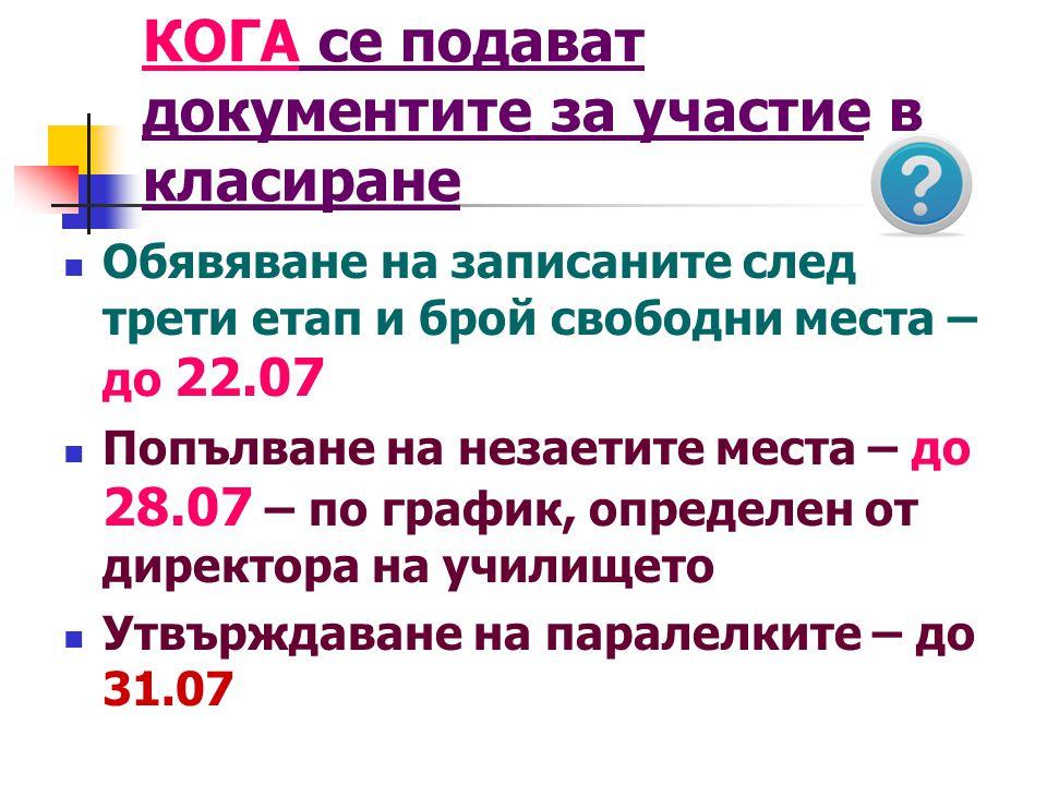  Обявяване на записаните след трети етап и брой свободни места – до 22.07  Попълване на незаетите места – до 28.07 – по график, определен от директо