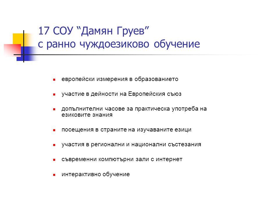 """17 СОУ """"Дамян Груев"""" с ранно чуждоезиково обучение  европейски измерения в образованието  участие в дейности на Европейския съюз  допълнителни часо"""