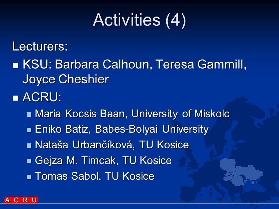 Activities (4) Lecturers:  KSU: Barbara Calhoun, Teresa Gammill, Joyce Cheshier  ACRU:  Maria Kocsis Baan, University of Miskolc  Eniko Batiz, Babes-Bolyai University  Nataša Urbančíková, TU Kosice  Gejza M.