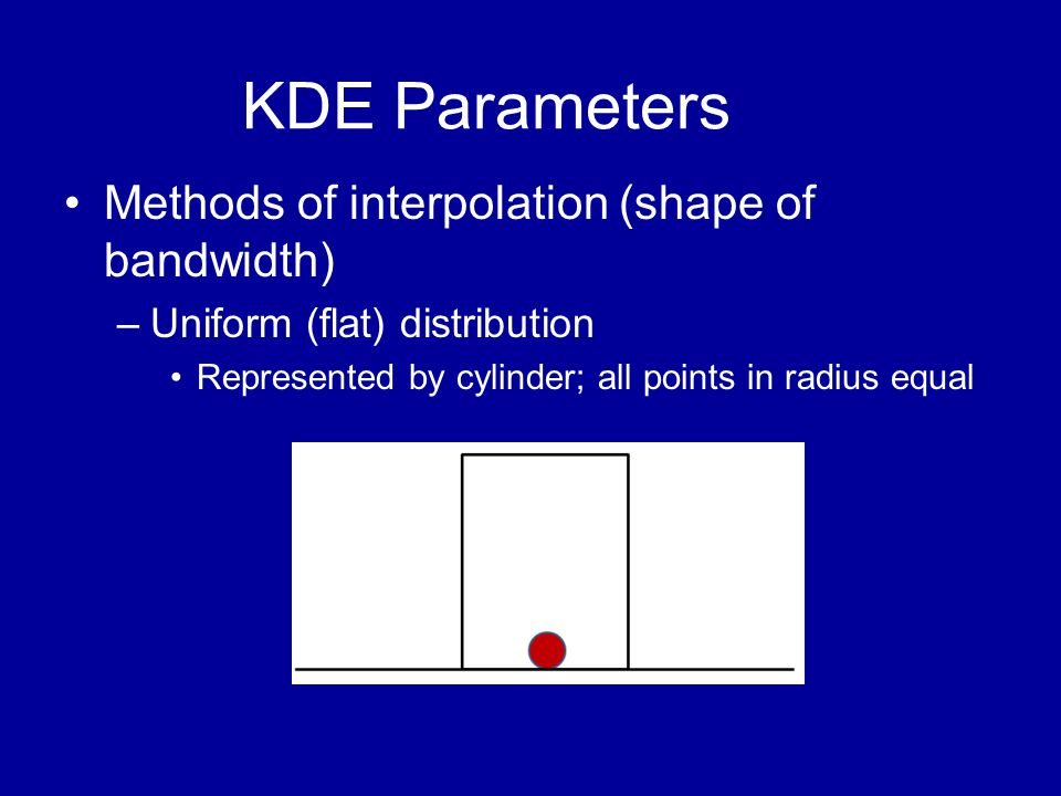 KDE Parameters •Methods of interpolation (shape of bandwidth) –Uniform (flat) distribution •Represented by cylinder; all points in radius equal