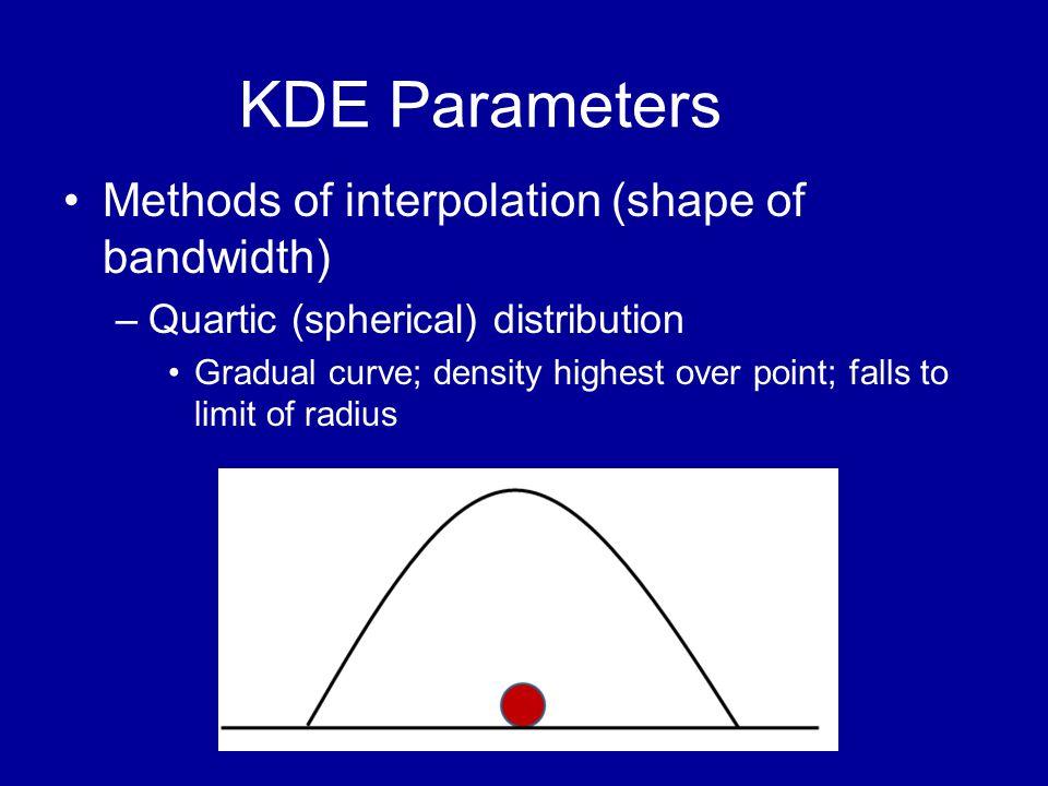 KDE Parameters •Methods of interpolation (shape of bandwidth) –Quartic (spherical) distribution •Gradual curve; density highest over point; falls to l