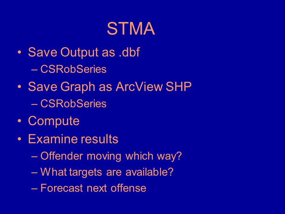 STMA •Save Output as.dbf –CSRobSeries •Save Graph as ArcView SHP –CSRobSeries •Compute •Examine results –Offender moving which way? –What targets are