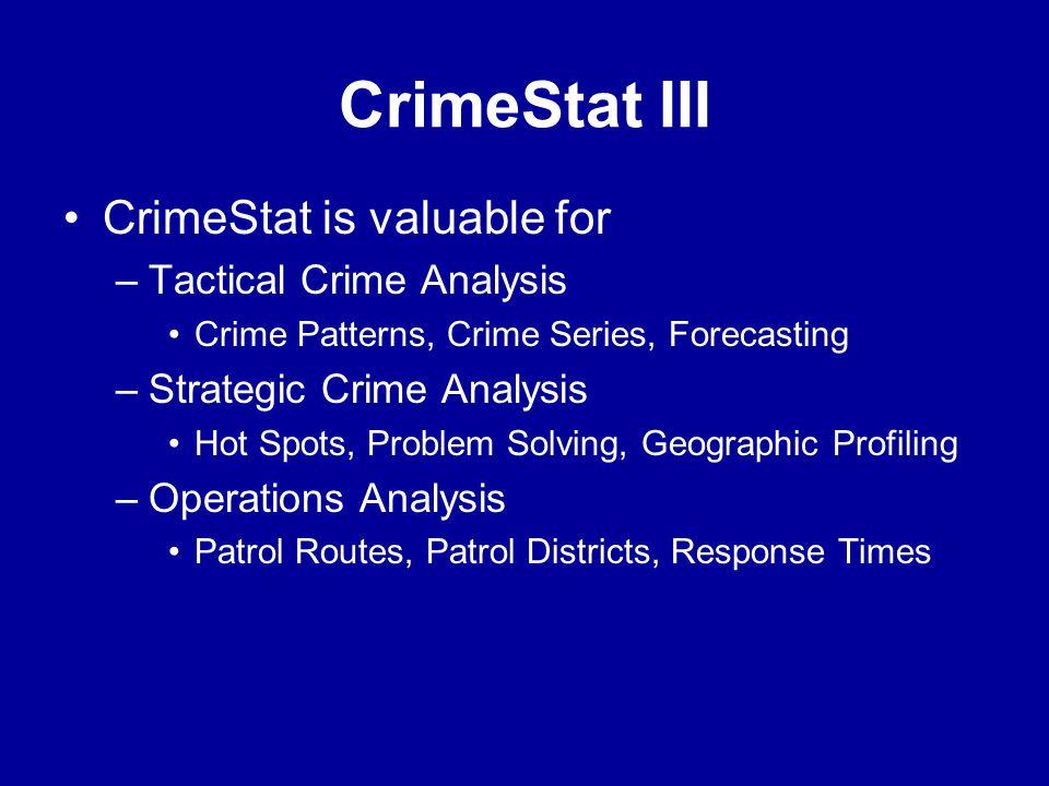 CrimeStat III •CrimeStat is valuable for –Tactical Crime Analysis •Crime Patterns, Crime Series, Forecasting –Strategic Crime Analysis •Hot Spots, Pro