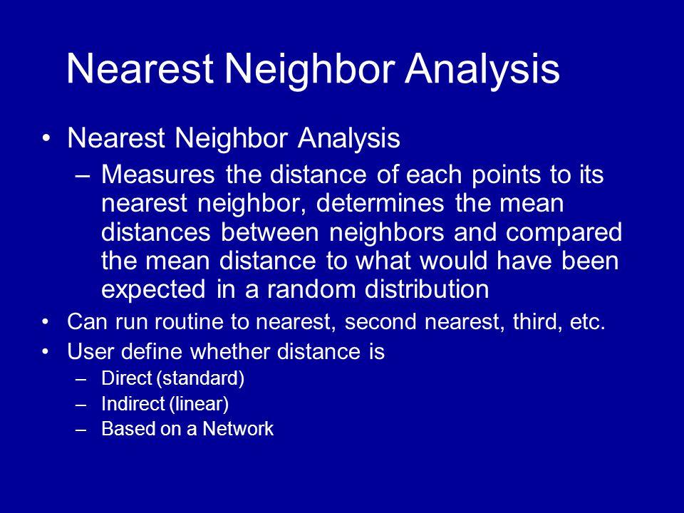 Nearest Neighbor Analysis •Nearest Neighbor Analysis –Measures the distance of each points to its nearest neighbor, determines the mean distances betw