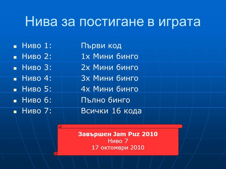 Нива за постигане в играта  Ниво 1:Първи код  Ниво 2:1x Мини бинго  Ниво 3:2x Мини бинго  Ниво 4:3x Мини бинго  Ниво 5:4x Мини бинго  Ниво 6:Пълно бинго  Ниво 7:Всички 16 кода Завършен Jam Puz 2010 Ниво 7 17 октомври 2010