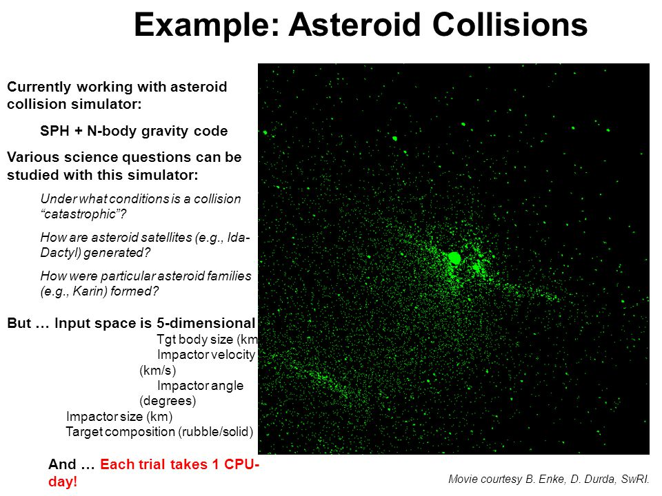 Example: Asteroid Collisions Movie courtesy B. Enke, D.