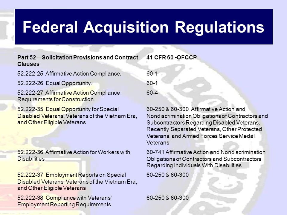 Federal Acquisition Regulations Part 52—Solicitation Provisions and Contract Clauses 41 CFR 60 -OFCCP 52.222-25 Affirmative Action Compliance.60-1 52.