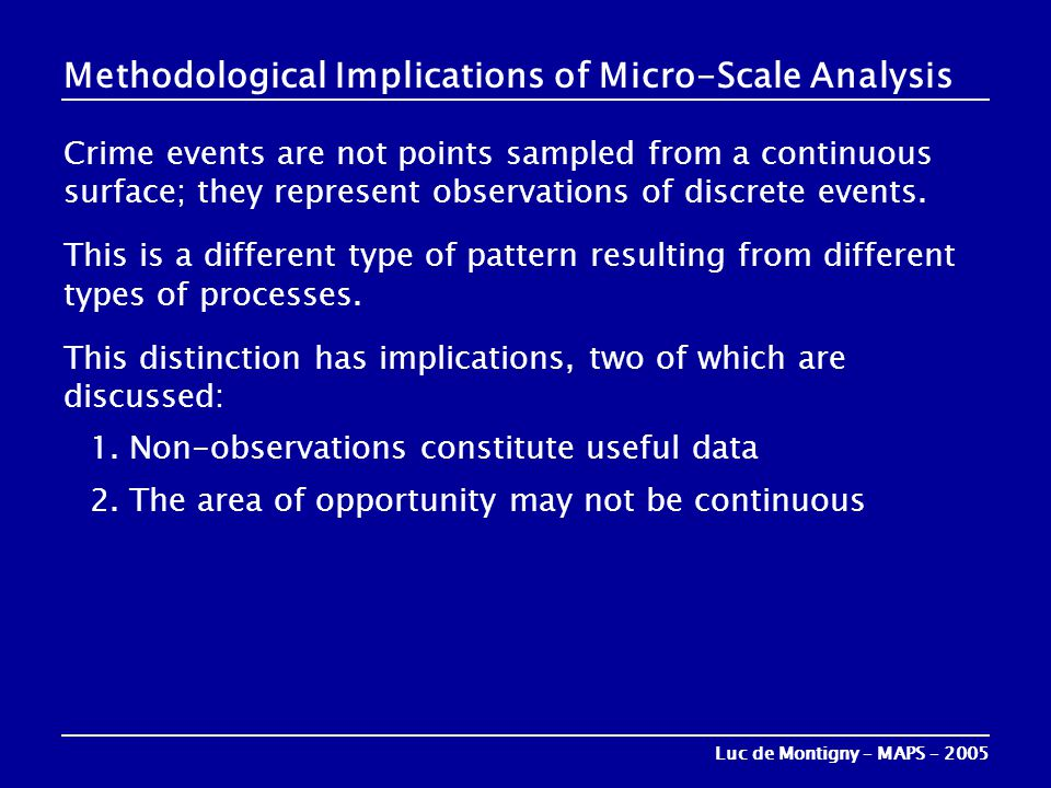 Methodological Implications of Micro-Scale Analysis Crime events are not points sampled from a continuous surface; they represent observations of disc
