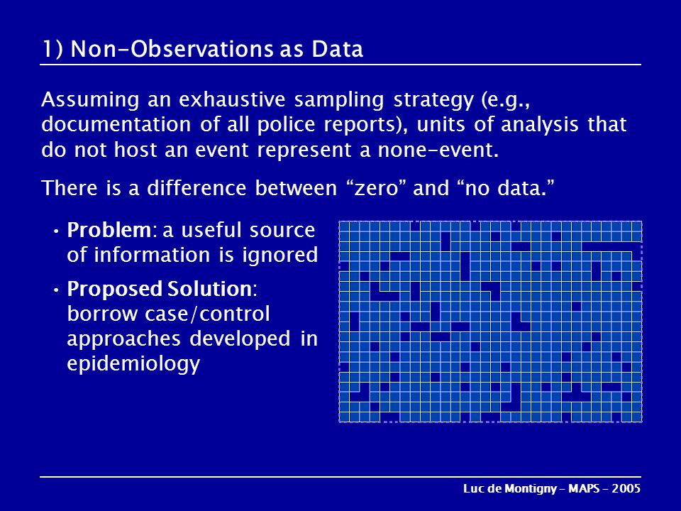 1) Non-Observations as Data Assuming an exhaustive sampling strategy (e.g., documentation of all police reports), units of analysis that do not host a