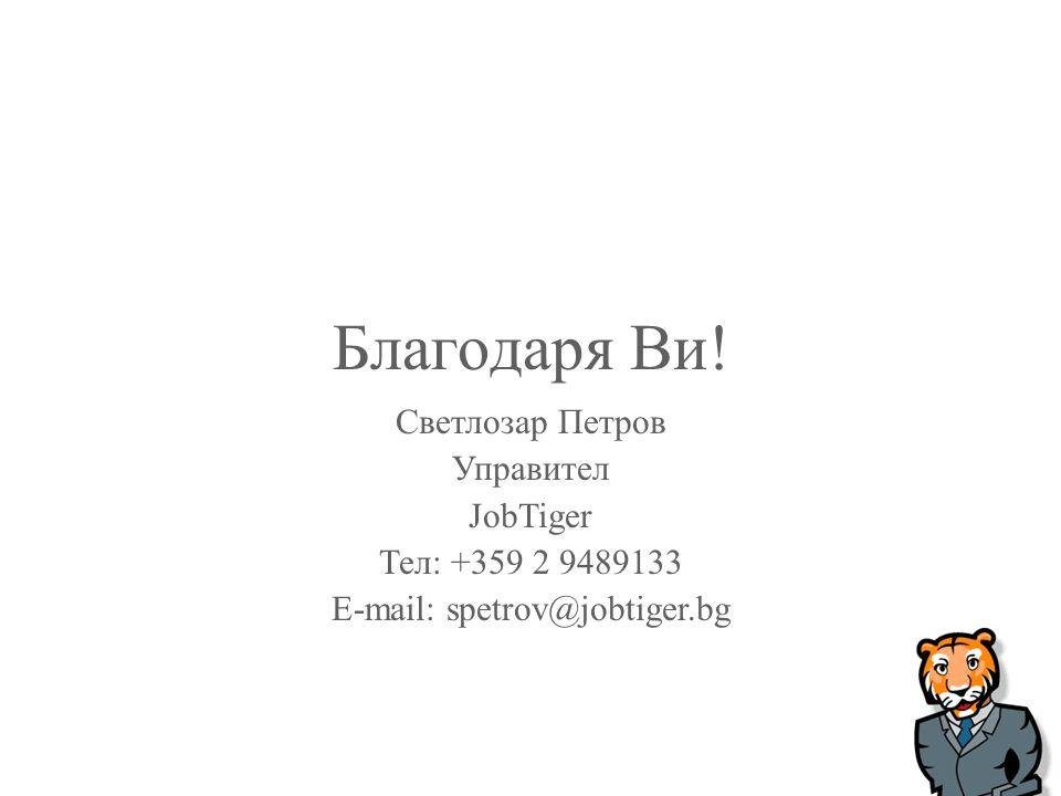Благодаря Ви! Светлозар Петров Управител JobTiger Тел: +359 2 9489133 E-mail: spetrov@jobtiger.bg