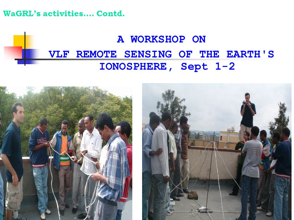 A WORKSHOP ON VLF REMOTE SENSING OF THE EARTH'S IONOSPHERE, Sept 1-2 WaGRL's activities…. Contd.