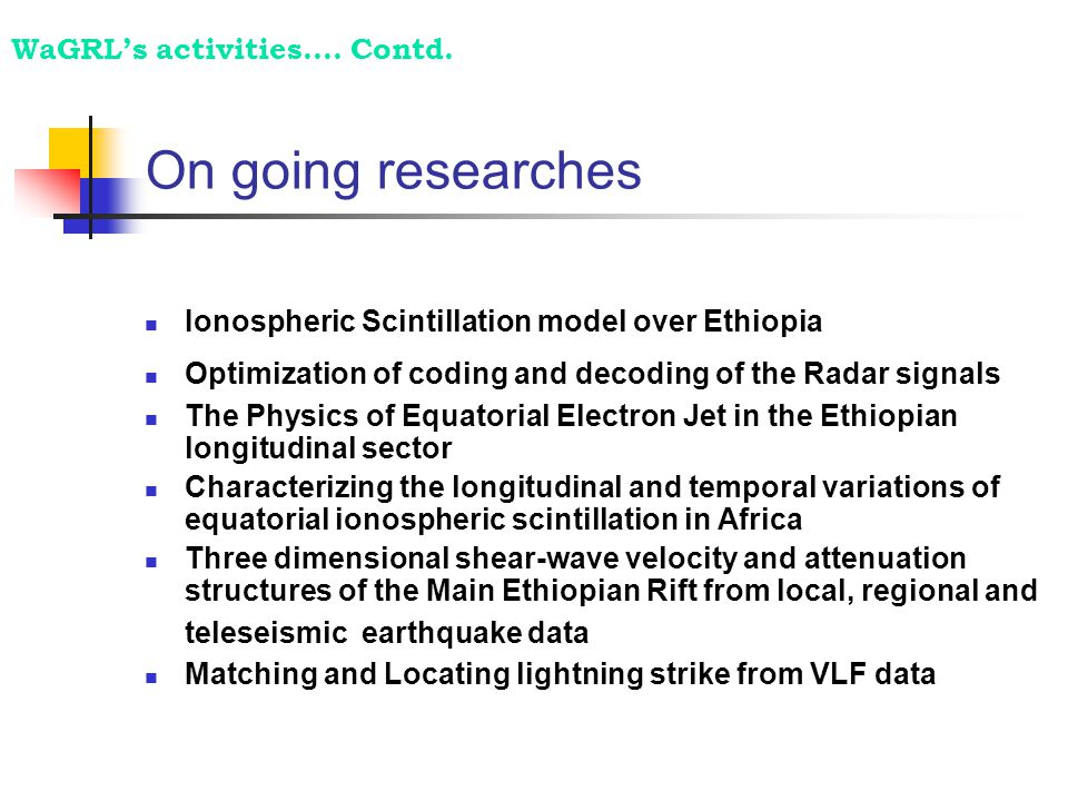 On going researches  Ionospheric Scintillation model over Ethiopia  Optimization of coding and decoding of the Radar signals  The Physics of Equato