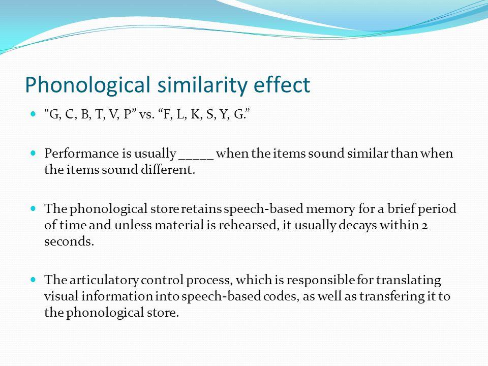 Phonological similarity effect  G, C, B, T, V, P vs.