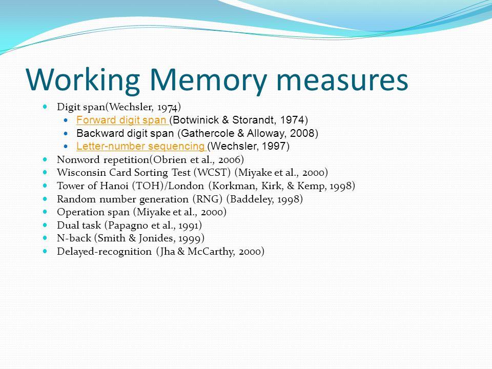 Working Memory measures  Digit span(Wechsler, 1974)  Forward digit span (Botwinick & Storandt, 1974) Forward digit span  Backward digit span (Gathe