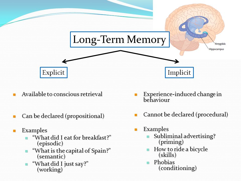 """ExplicitImplicit  Available to conscious retrieval  Can be declared (propositional)  Examples  """"What did I eat for breakfast?"""" (episodic)  """"What"""