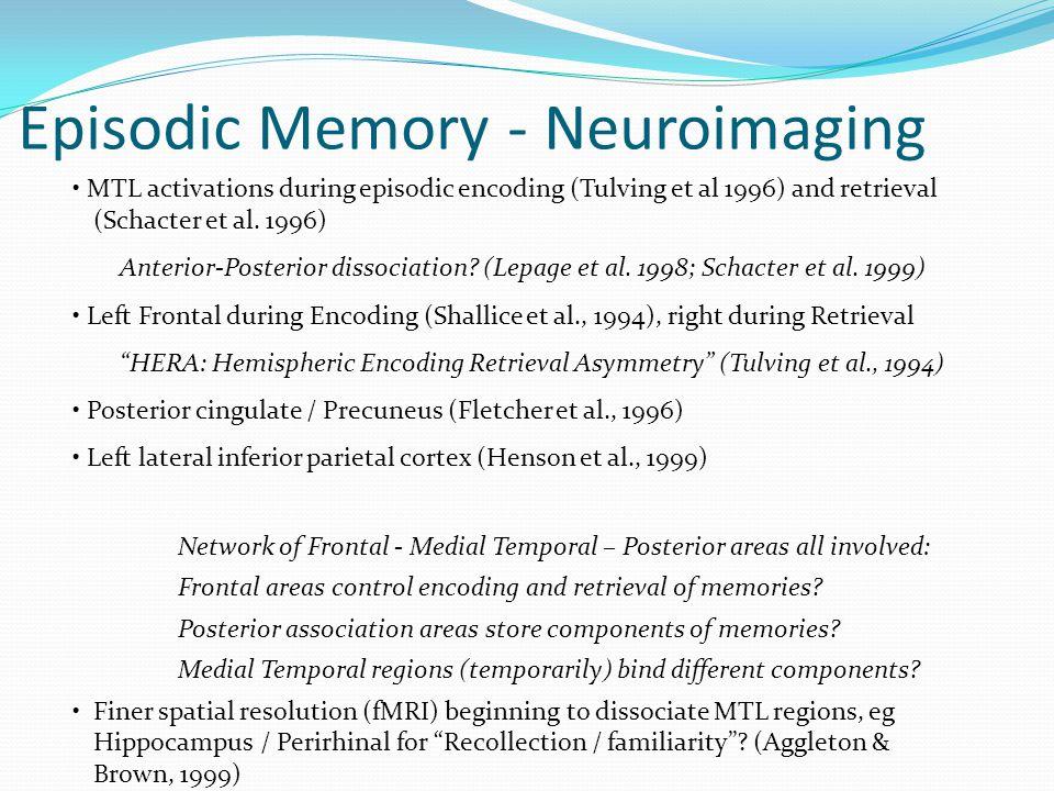 • MTL activations during episodic encoding (Tulving et al 1996) and retrieval (Schacter et al.