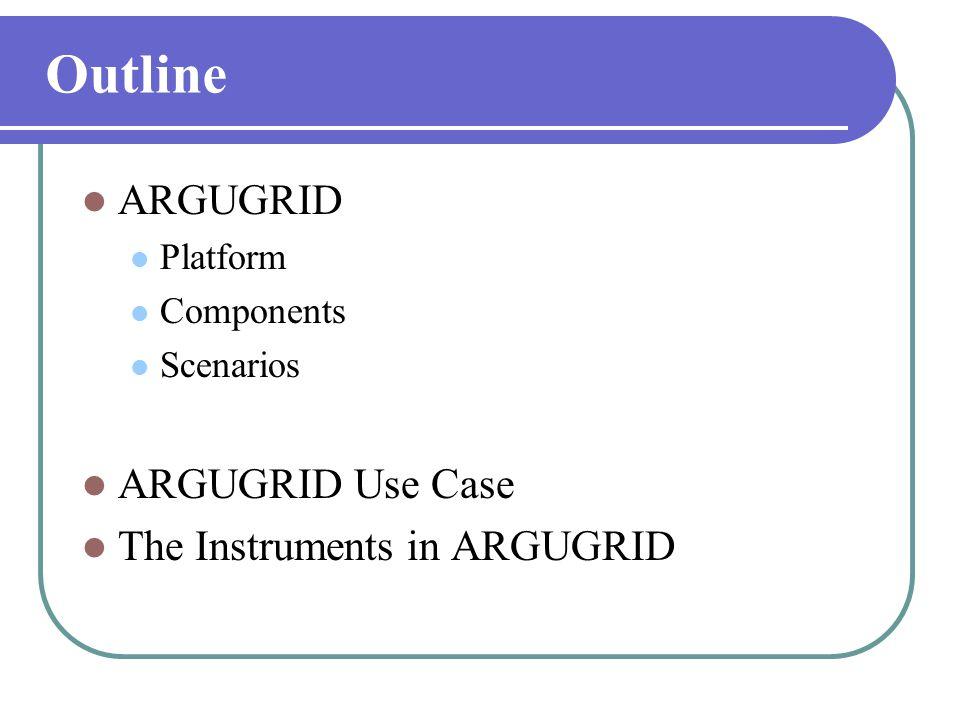 Outline  ARGUGRID  Platform  Components  Scenarios  ARGUGRID Use Case  The Instruments in ARGUGRID