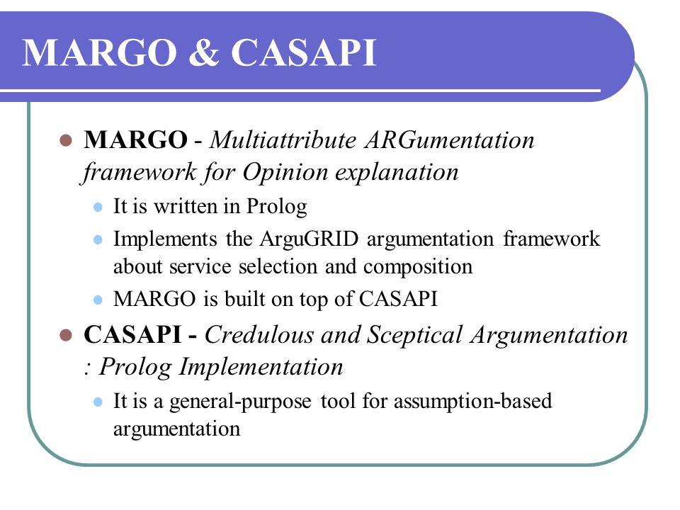 MARGO & CASAPI  MARGO - Multiattribute ARGumentation framework for Opinion explanation  It is written in Prolog  Implements the ArguGRID argumentat